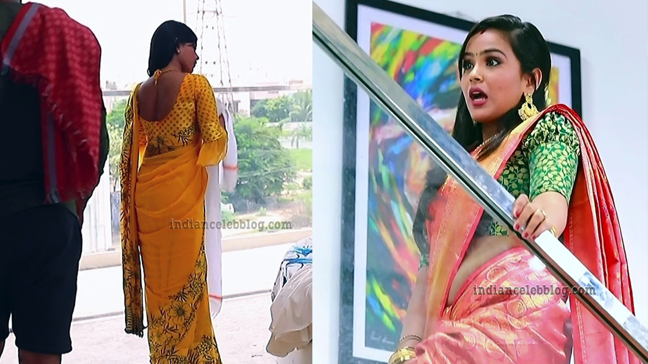 Kanmani manoharan tamil serial actress saree navel show TV caps