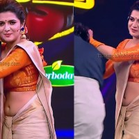 Divyadarshini tamil tv anchor hot saree navel show