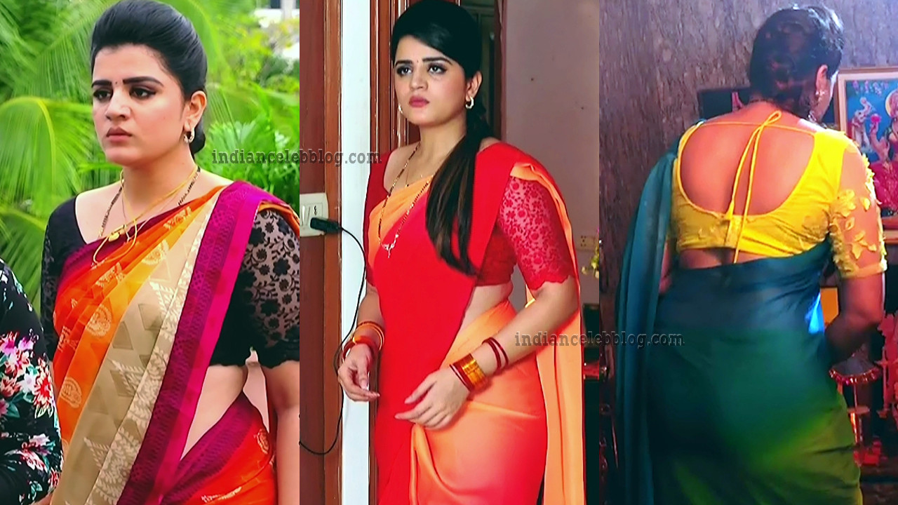 Aishwarya Gowda Telugu serial hot Sari caps.