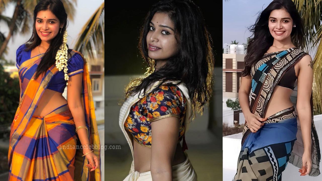 Dharsha gupta tamil tv actress hot saree midriff show photos