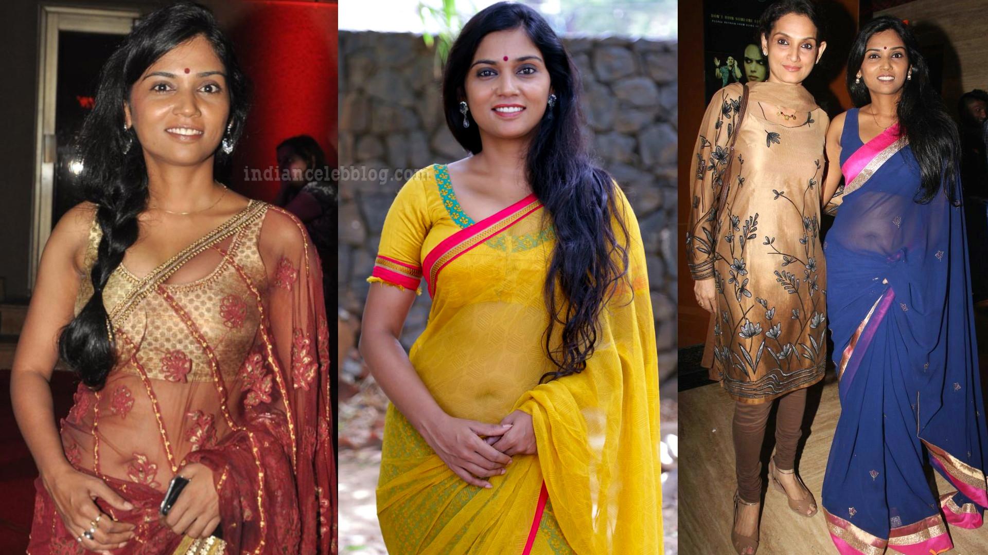 Usha jadhav marathi actress transparent saree navel show event pics