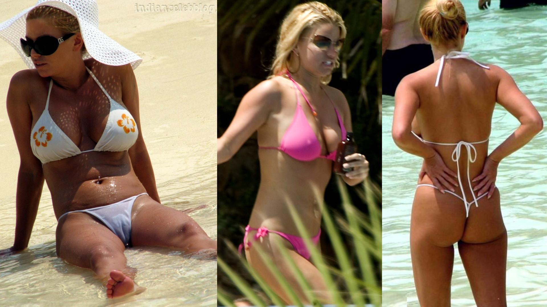 Jessica simpson flaunts bikini body at bahamas beach