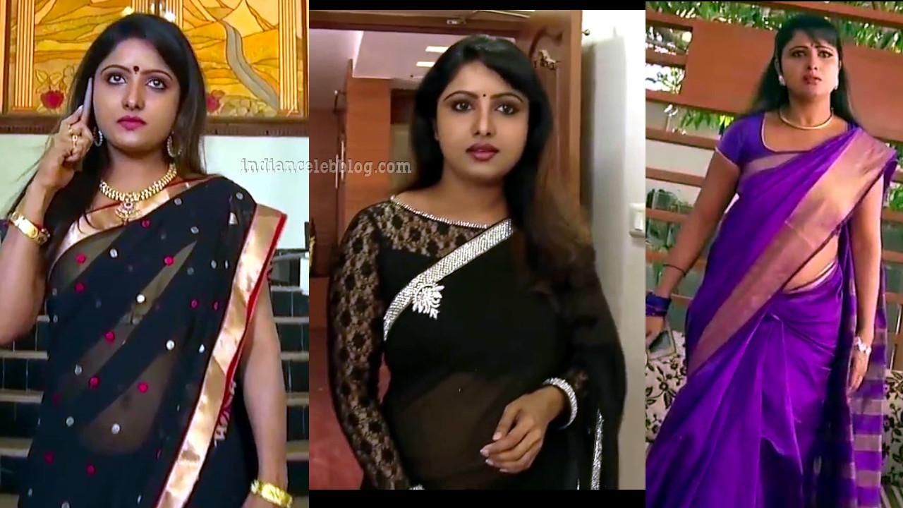 Vimitha krishnan in transparent saree from chandralekha serial