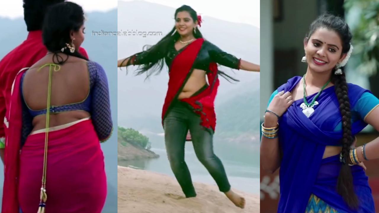 Manasa Himavarsha hot backless saree tollywood caps