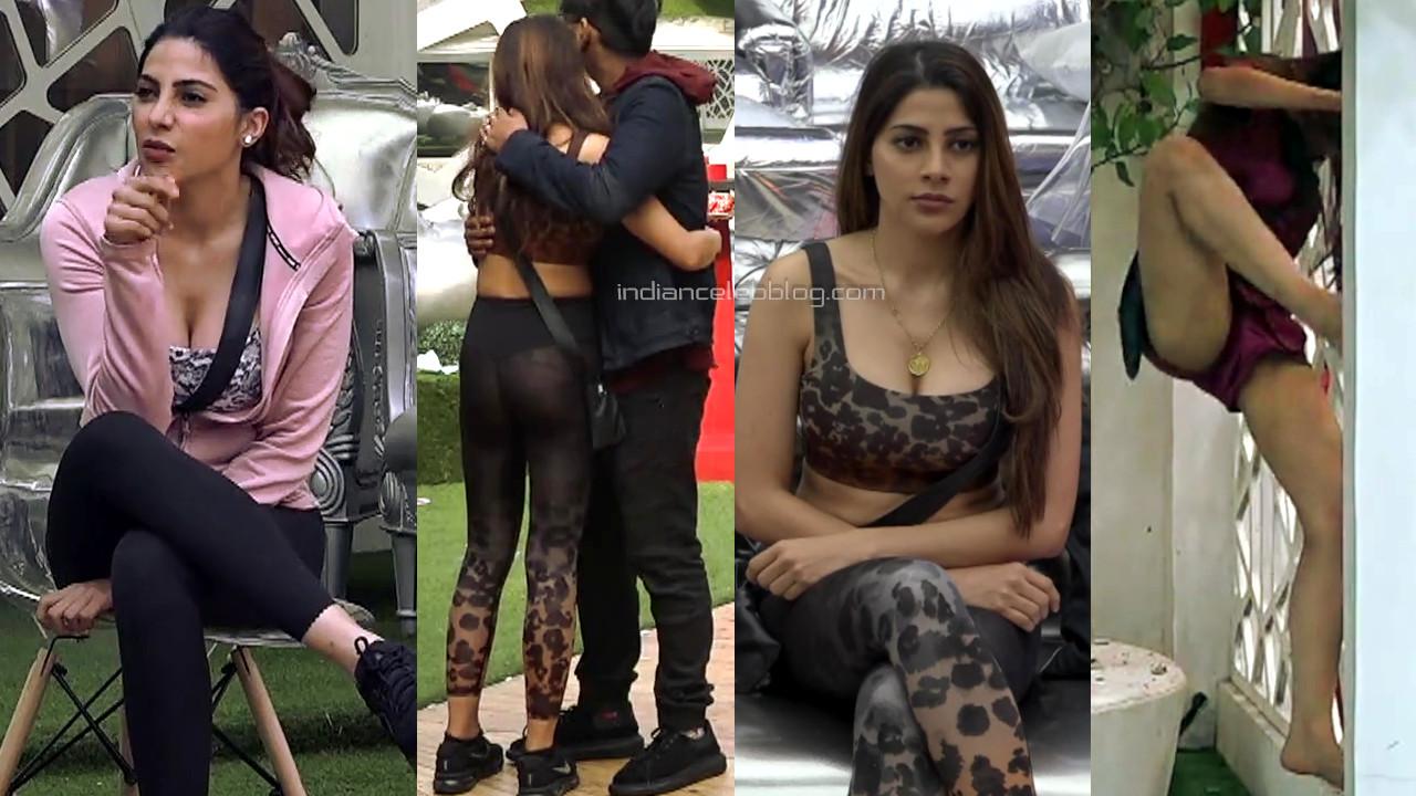Nikki tamboli sexy legs show in see through leggings from bigg boss