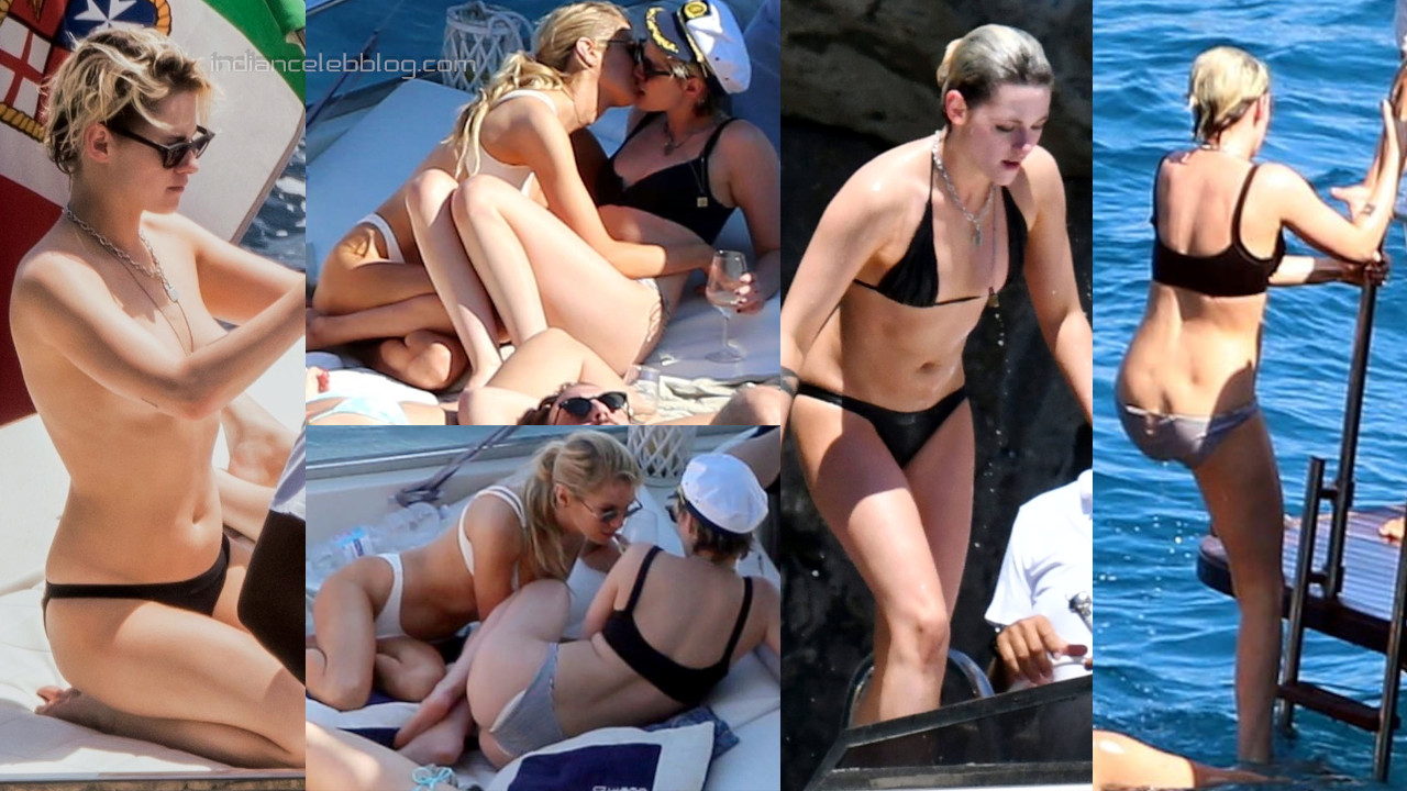 Kristen stewart Stella maxwell kiss on yacht - bikini photos