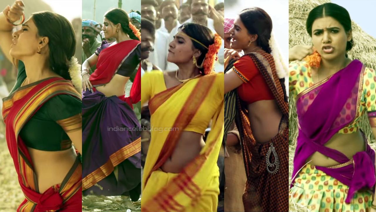 Samantha sexy sari navel show rangasthalam hd caps pics