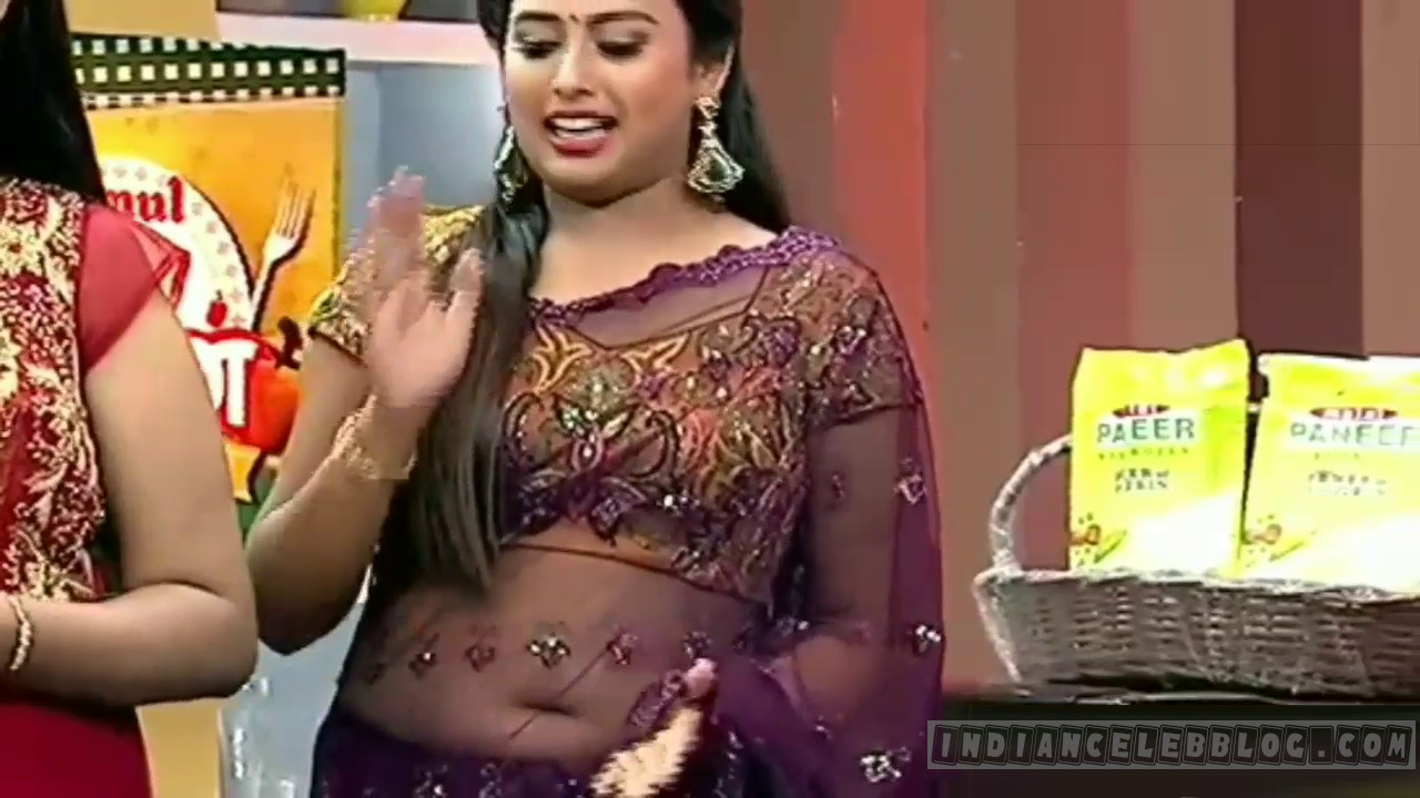 Farina azad tamil tv cook show trasparent saree navel show Video