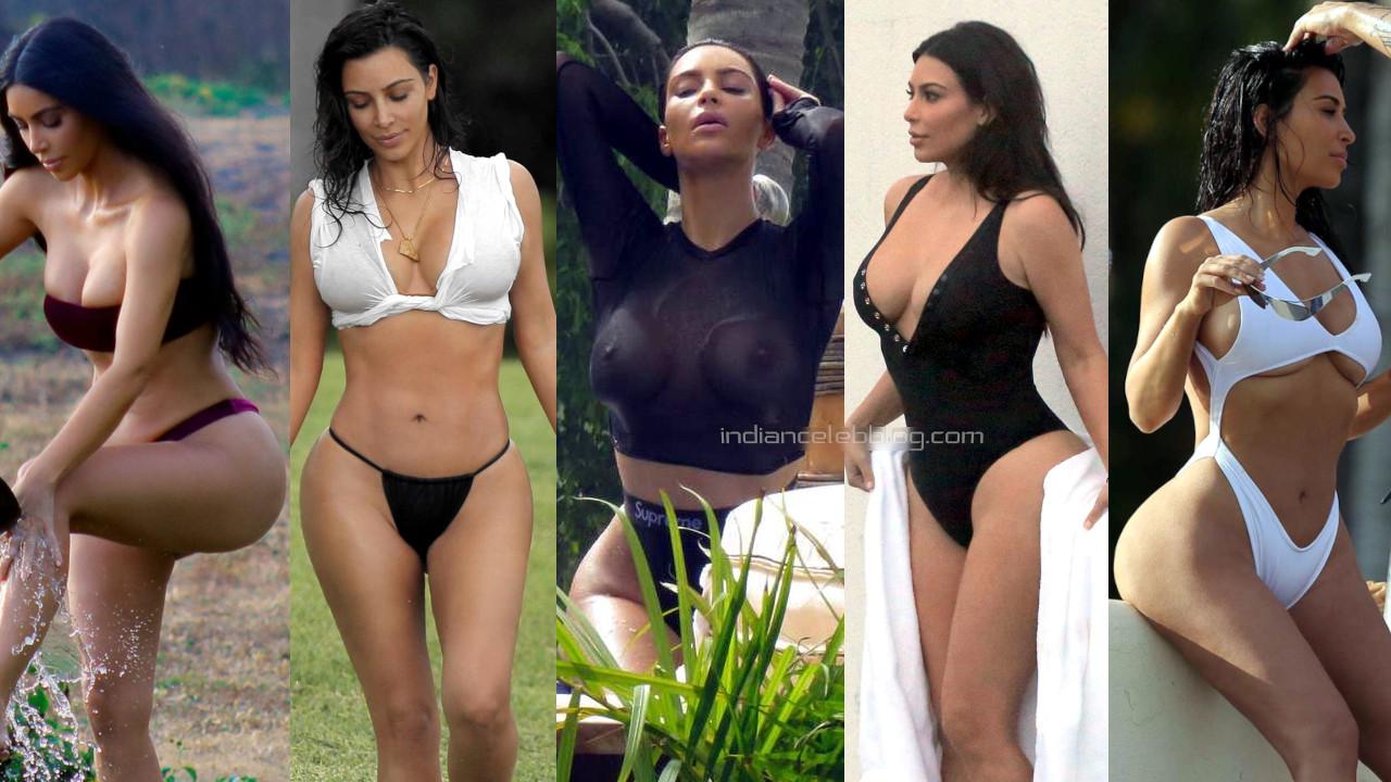Kim kardashian american model sexy bikini beach photos