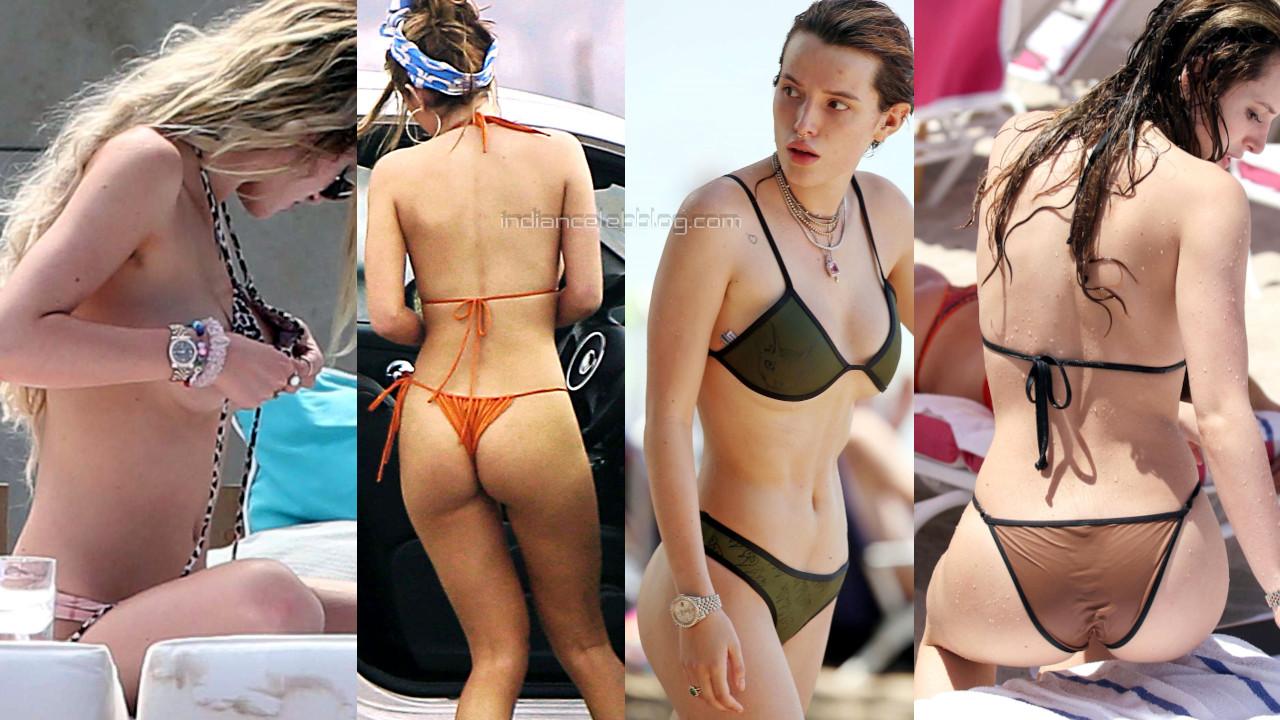 Bella thorne hot two piece thong bikini beach paparazzi photos