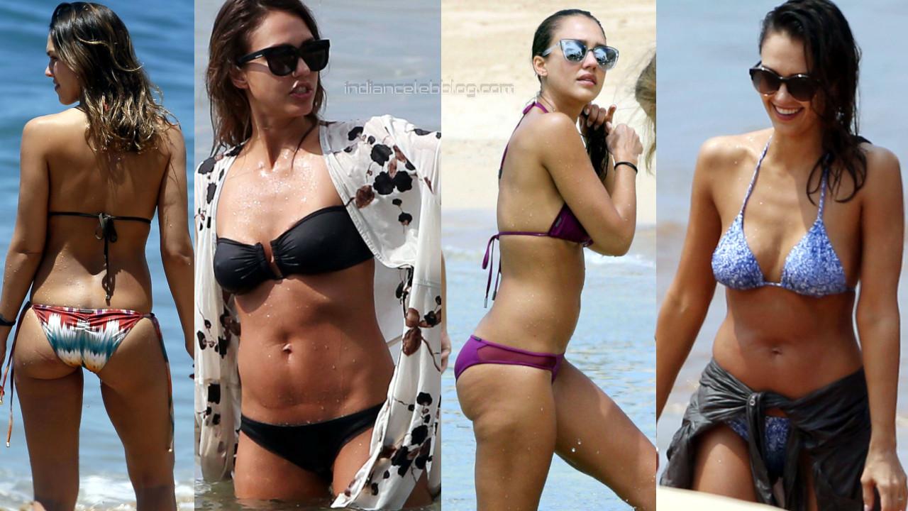 Jessica alba hollywood celeb sexy bikini beach candid photos