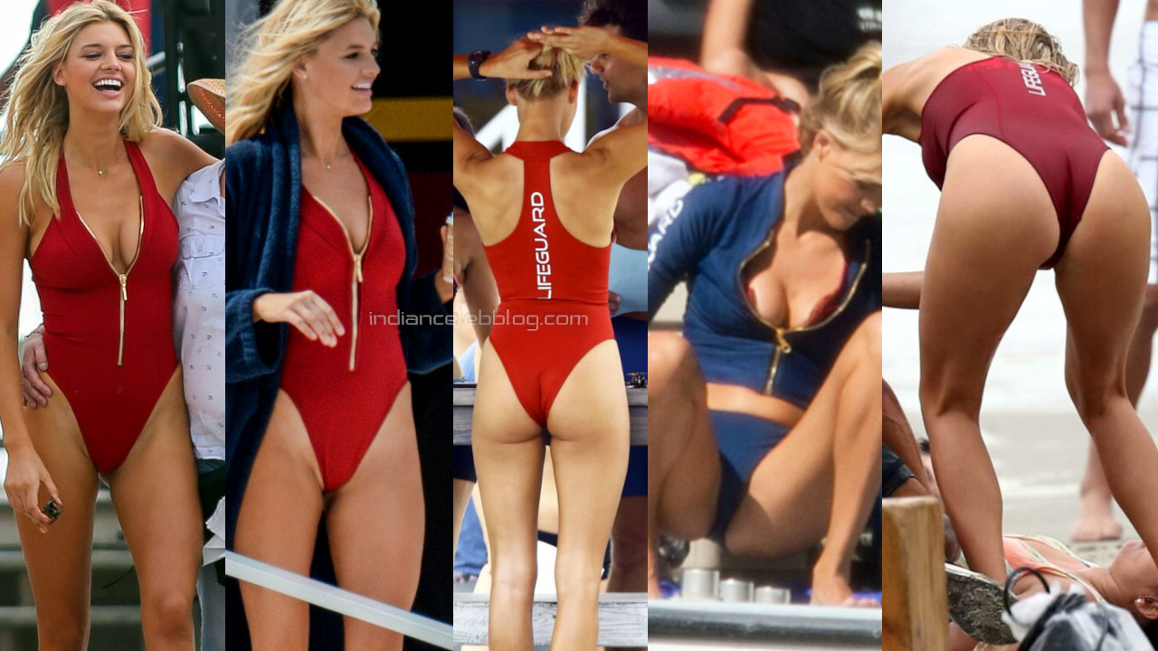 Kelly rohrbach Baywatch sexy cleavage butts in swimsuit on set photos