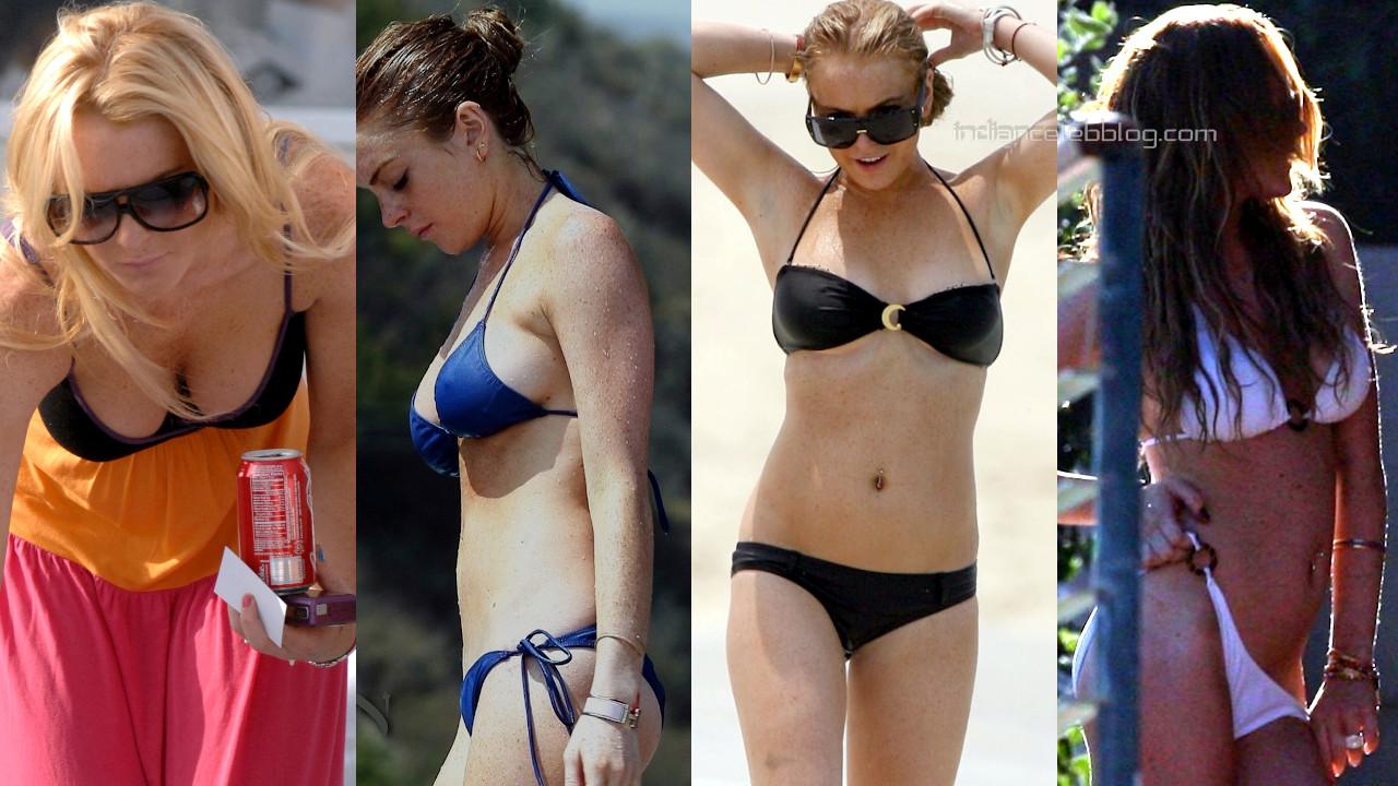 Lindsay lohan hot bikini candids beach paparazzi photos