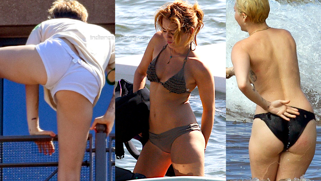 Miley cyrus hot bikini beach candid paparazzi photos