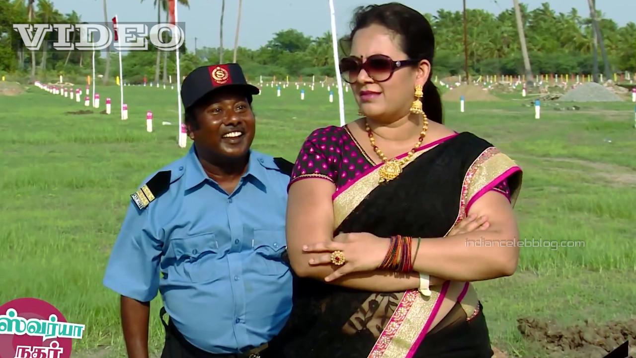 Archana VJ in black transparent saree tamil tv commercial