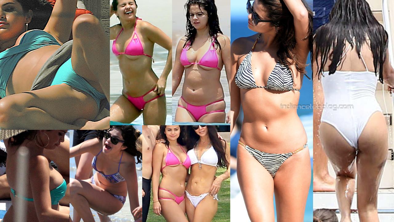 Selena gomez hot swimsuit bikini beach candid paparazzi photos