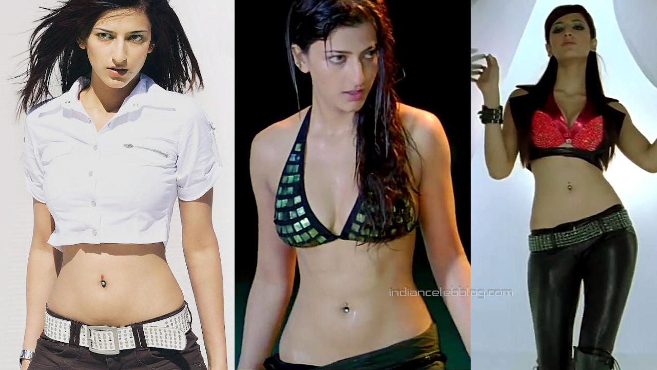 Shruti haasan sexy bikini pierced navel show Luck movie stills hd caps