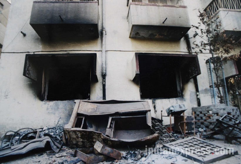The Gulbarg Society massacre took place on February 28, 2002, during the 2002 Gujarat riots, when a mob attacked the Gulbarg Society, a lower middle-class Muslim neighbourhood in Chamanpura, Ahmedabad. Most of the houses were burnt, and at least 35 victims including a former Congress Member of Parliament Ehsan Jafri, were burnt alive, while 31 others went missing *** Local Caption *** The Gulbarg Society massacre took place on February 28, 2002, during the 2002 Gujarat riots, when a mob attacked the Gulbarg Society, a lower middle-class Muslim neighbourhood in Chamanpura, Ahmedabad. Most of the houses were burnt, and at least 35 victims including a former Congress Member of Parliament Ehsan Jafri, were burnt alive, while 31 others went missing Express archive photo