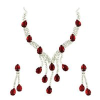 Oviya Red Velvet Pears Austrian Crystal Necklace set