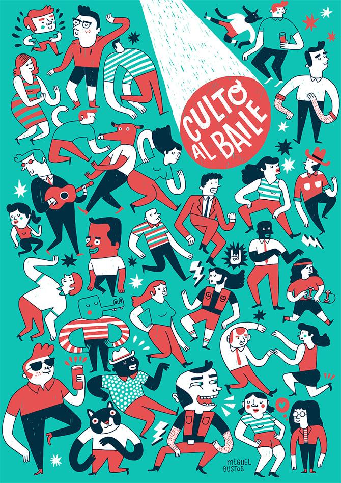 ilustradores-miguel bustos culto al baile
