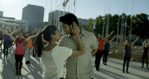 """Ali Fazal (3 Idiots) and Melanie Kannokada (Brown Nation) in a scene from """"For Here or To Go?"""" a comedy drama on battles faced by Indian immigrants in America"""