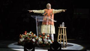 Indian Prime Minister Modi at New York rally (Photo: Voice of America News)
