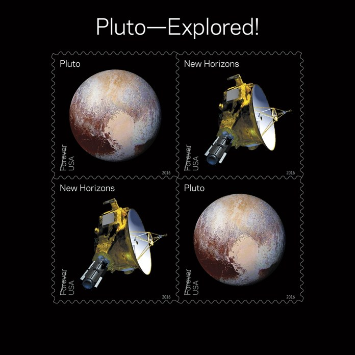 The souvenir sheet of four Pluto stamps contains two new stamps appearing twice. (Photo: NASA)
