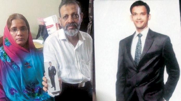 Hamid Nehal Ansari (right) and parents (left) Photo courtesy: Indian Express.