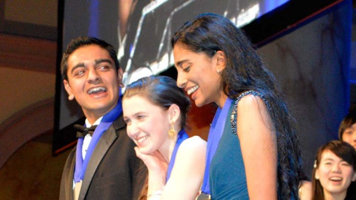 The winners of the top prizes in the prestigious Intel Science Talent Search compeition are Amol Punjabi, from left, Paige Brown and Maya Varma. They each won $150,000. Punjabi won the First Place Medal of Distincition for basic research and Varma for innovation. (Photo courtesy: Society for Science & the Public)