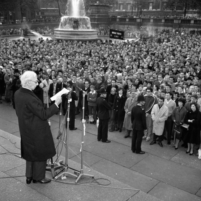 British philosopher Bertrand Russell addresses an anti-nuclear weapons protest in London in 1961