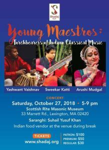 Young Maestros - Arushi Mudgal (Odissi Dance), Yashwant Vaishnav (Tabla), Sweekar Katti (Sitar) @ Scottish Rite Masonic Museum | Lexington | Massachusetts | United States