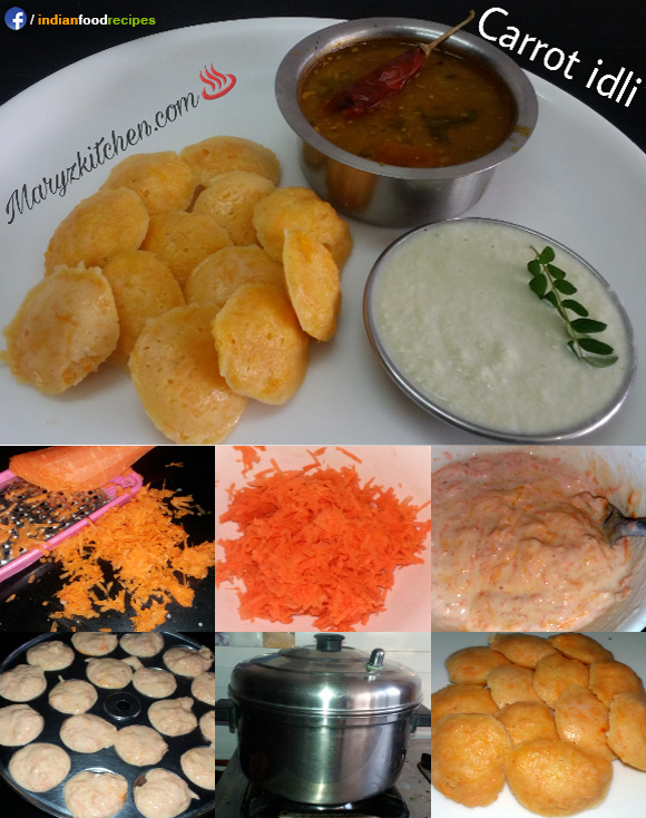 Carrot idli recipe step by step