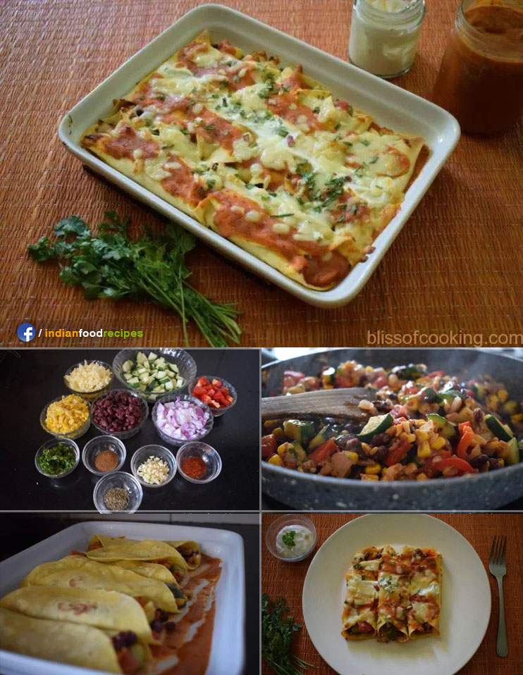 Cheesy baked Vegetable Enchilada (Indo-Mexican) recipe step by step