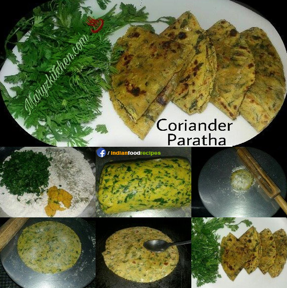 Coriander paratha recipe step by step