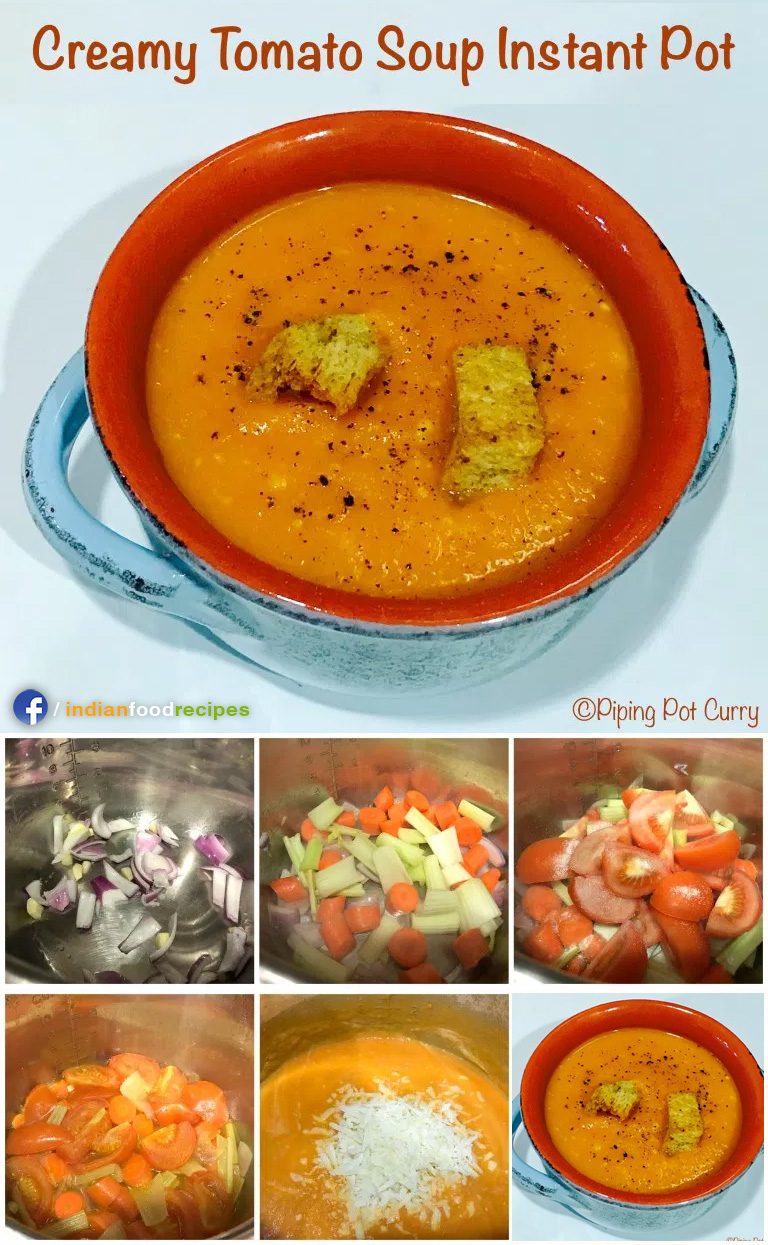 Creamy Tomato Soup Instant Pot Pressure Cooker recipe step by step