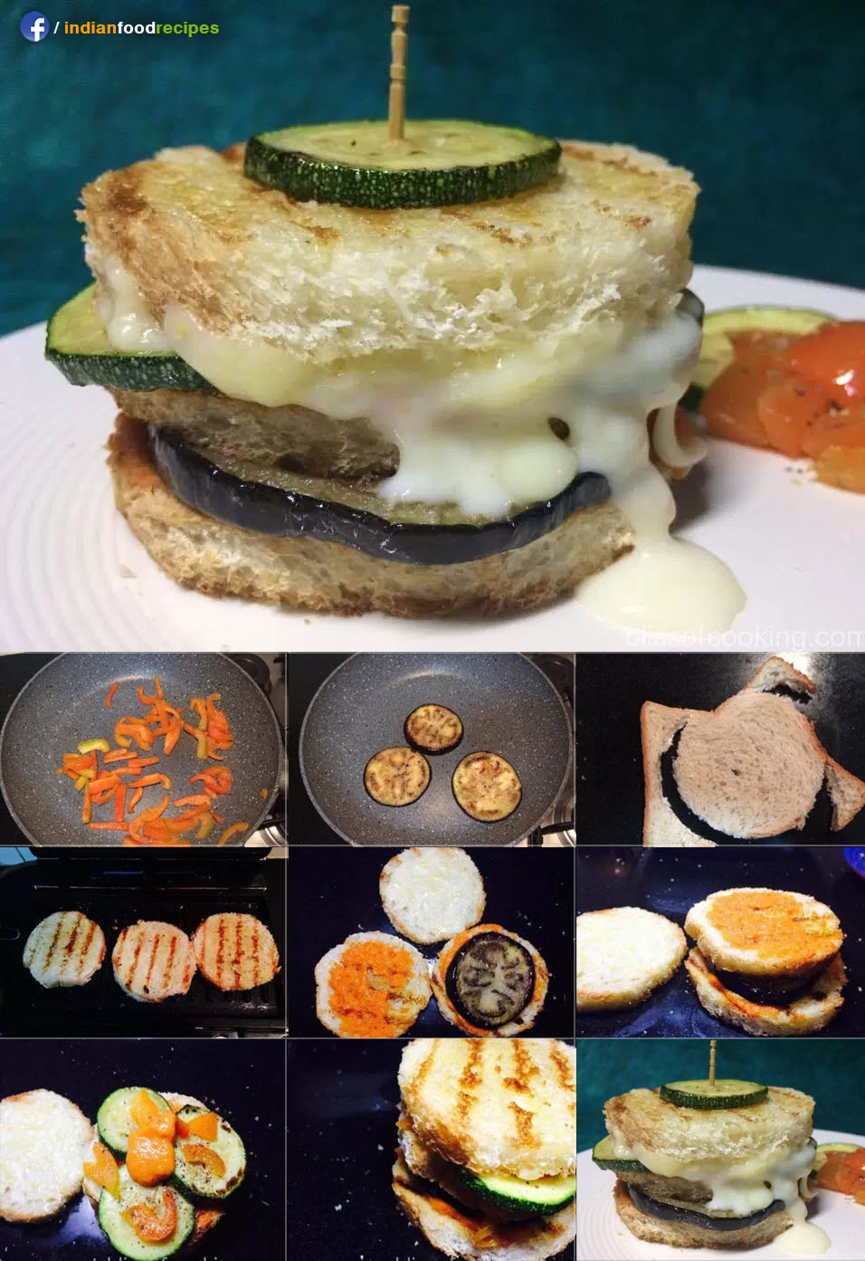Grilled Zucchini Eggplant Sandwich recipe step by step