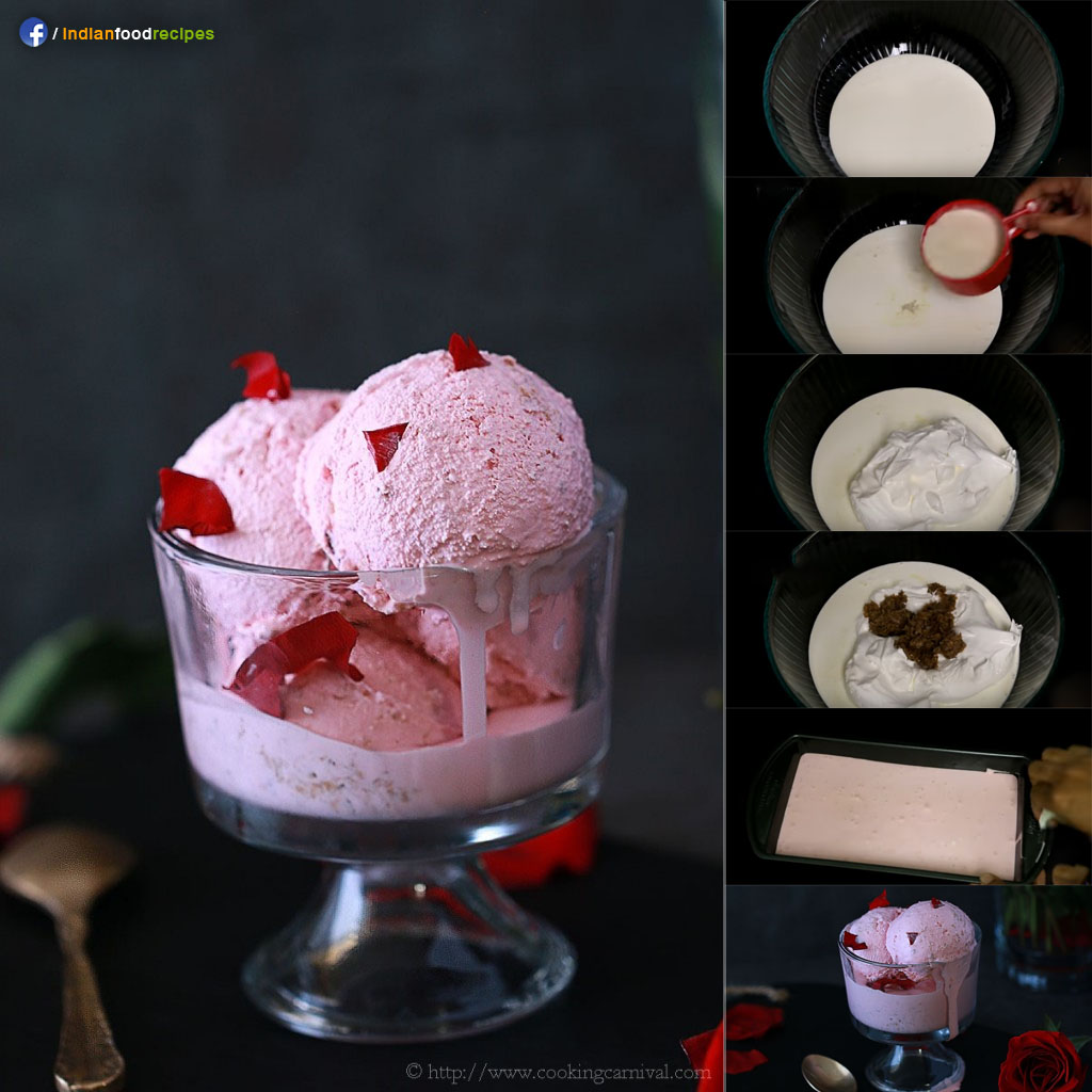 Gulkand Ice cream recipe step by step