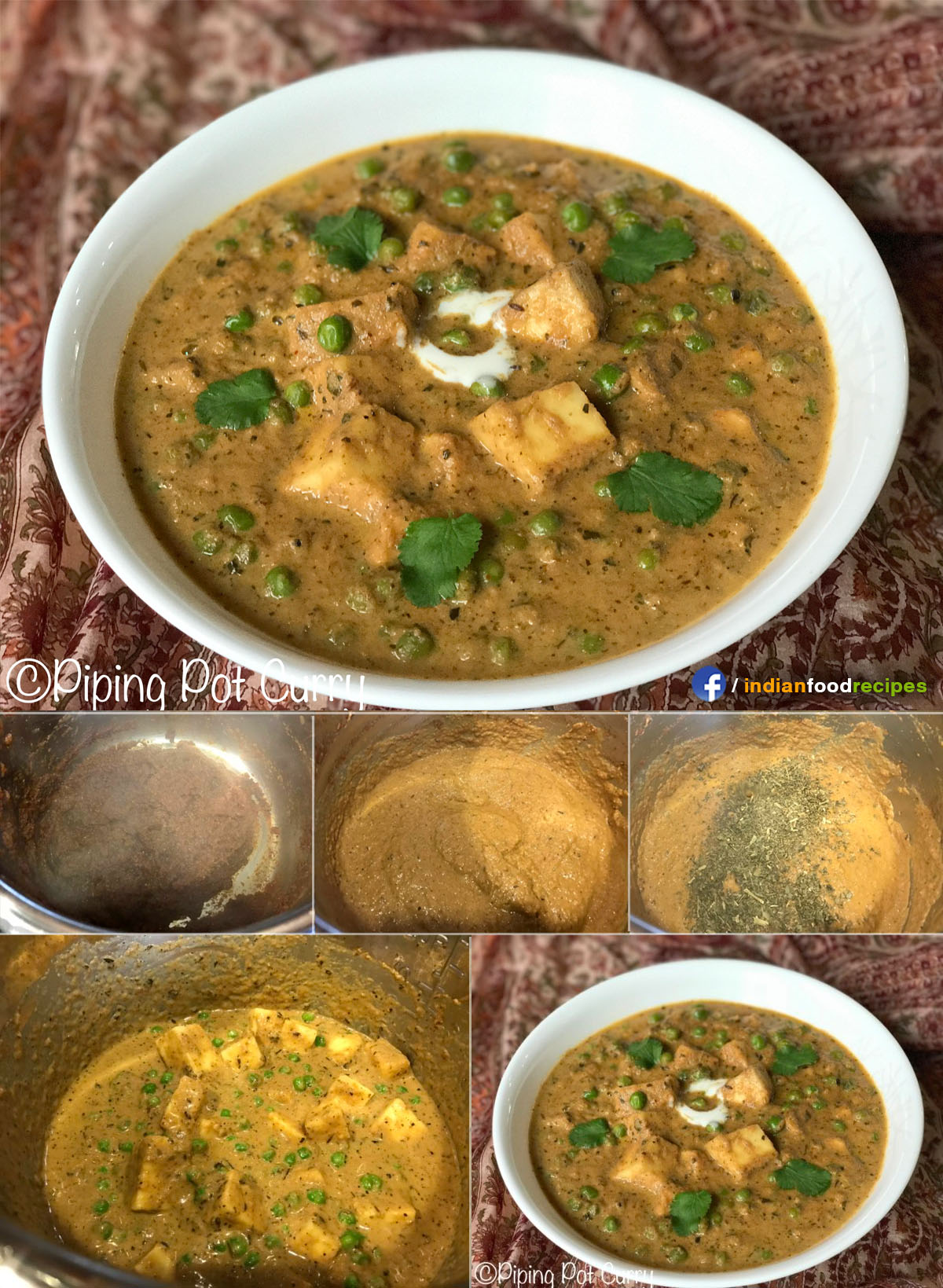 Instant Pot Mutter Paneer Masala (Green Peas & Cottage Cheese Curry) recipe step by step