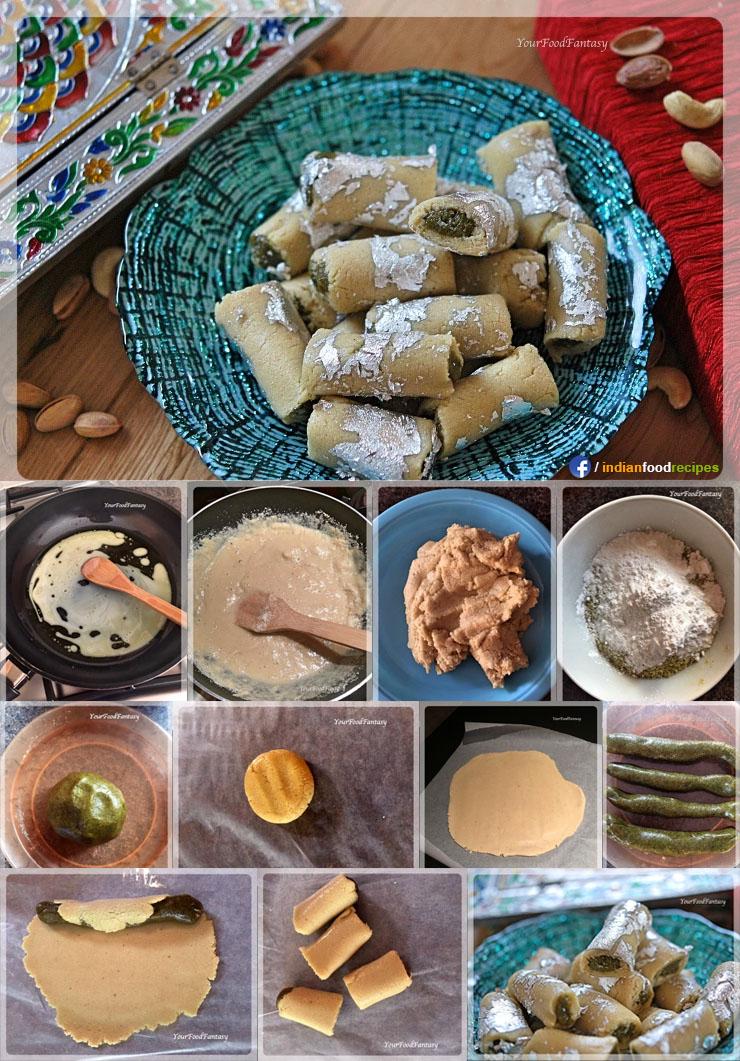 Kaju pista roll recipe step by step