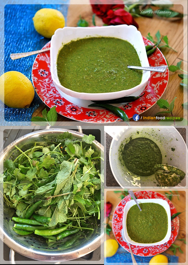 Mint and Coriander Green Chutney / Hari Chutney / Dhaniya Podina Chutney recipe step by step