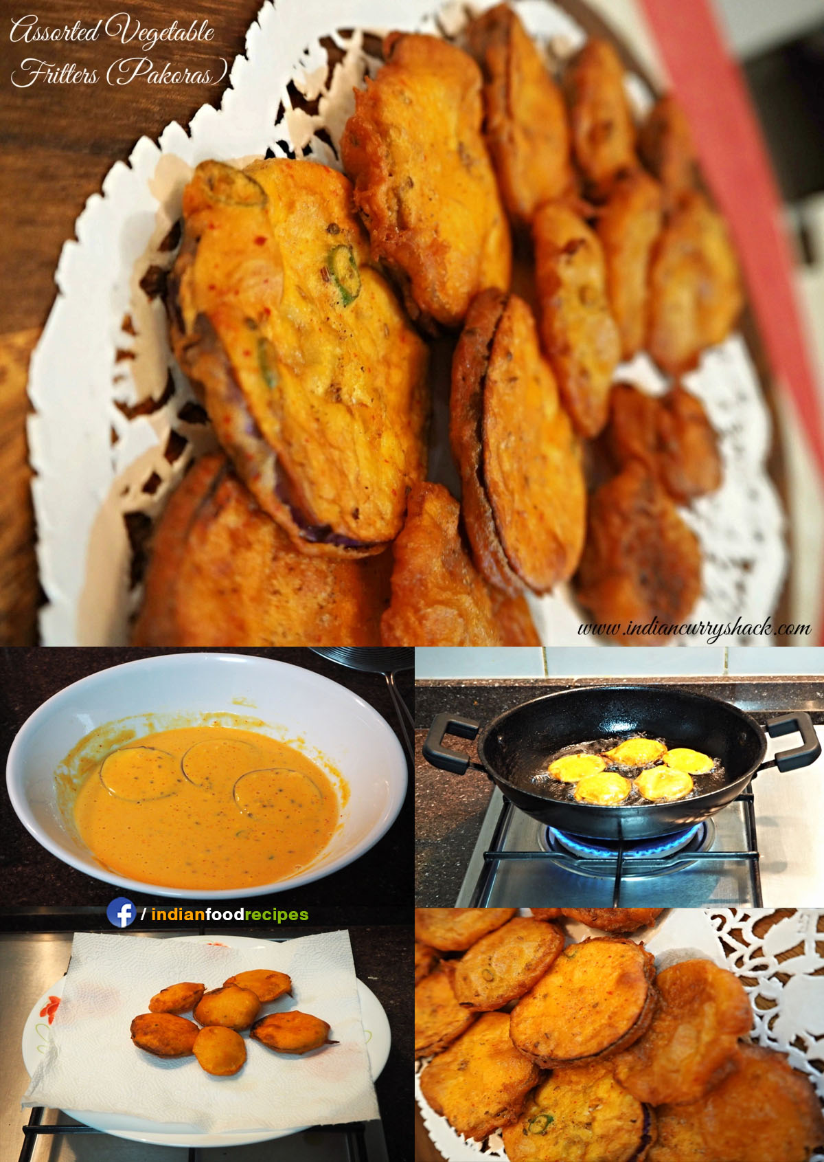Mixed Pakora / Assorted Vegetable Fritters (Pakoras) recipe step by step