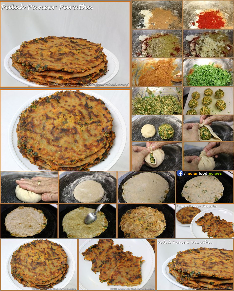 Palak Paneer Paratha recipe step by step