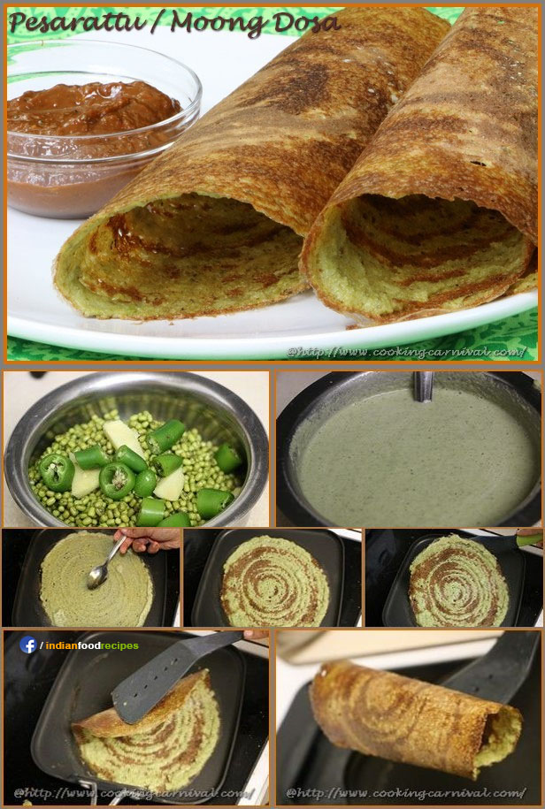 Pesarattu / Moong Dosa recipe step by step