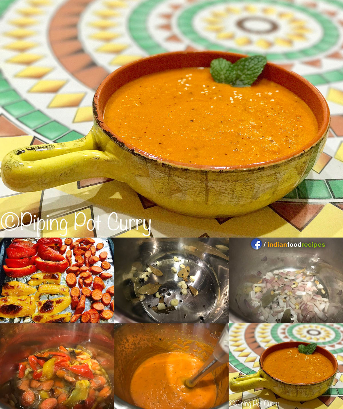Roasted Carrot and Bell Pepper Soup recipe step by step