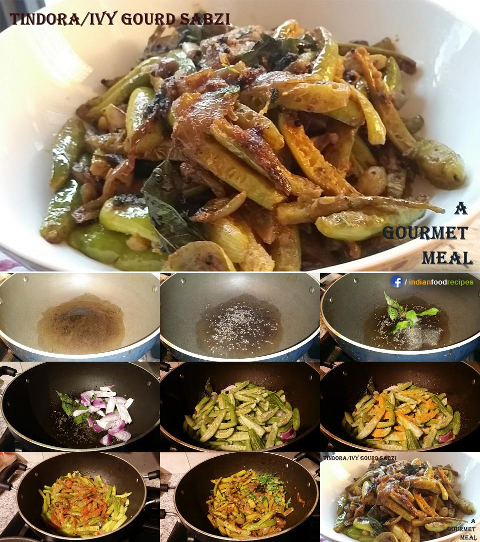 Tindore / Tondii / Tindore / Ivy Gourd Sabji recipe step by step