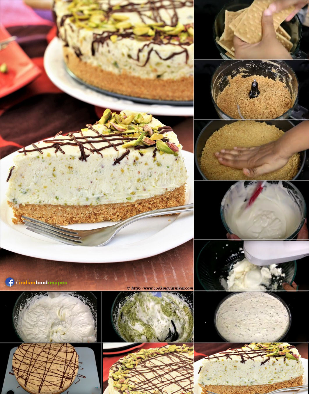 White chocolate pistachio cheesecake recipe step by step