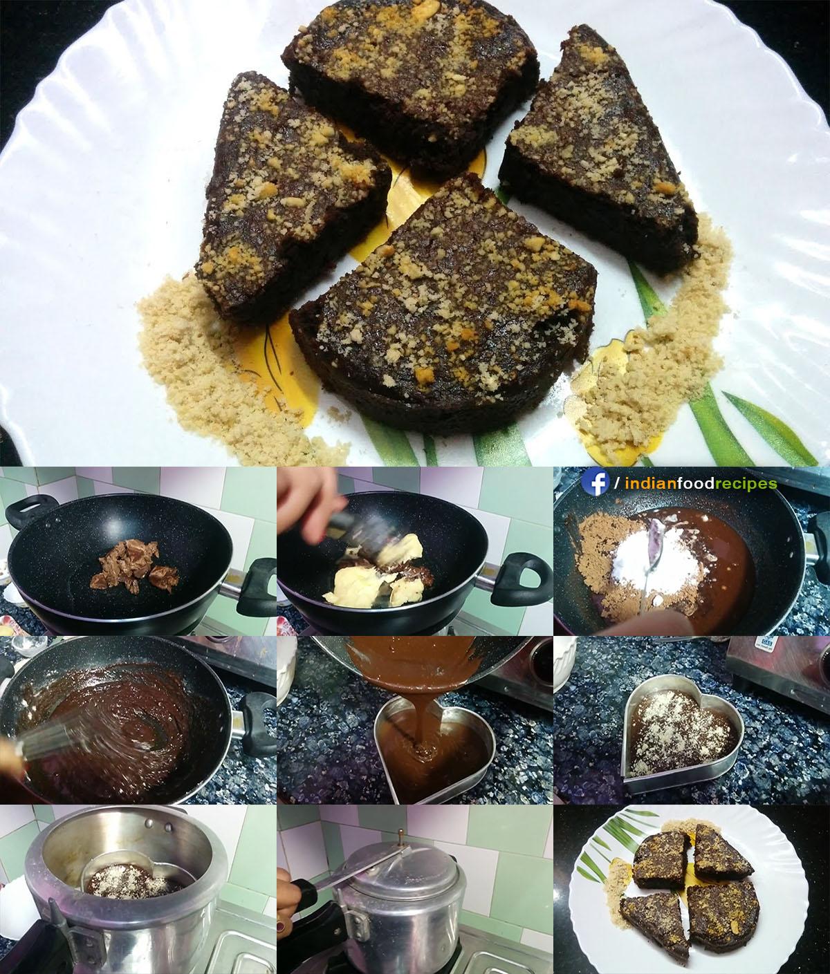 Eggless Chocolate Brownie in Pressure Cooker recipe step by step