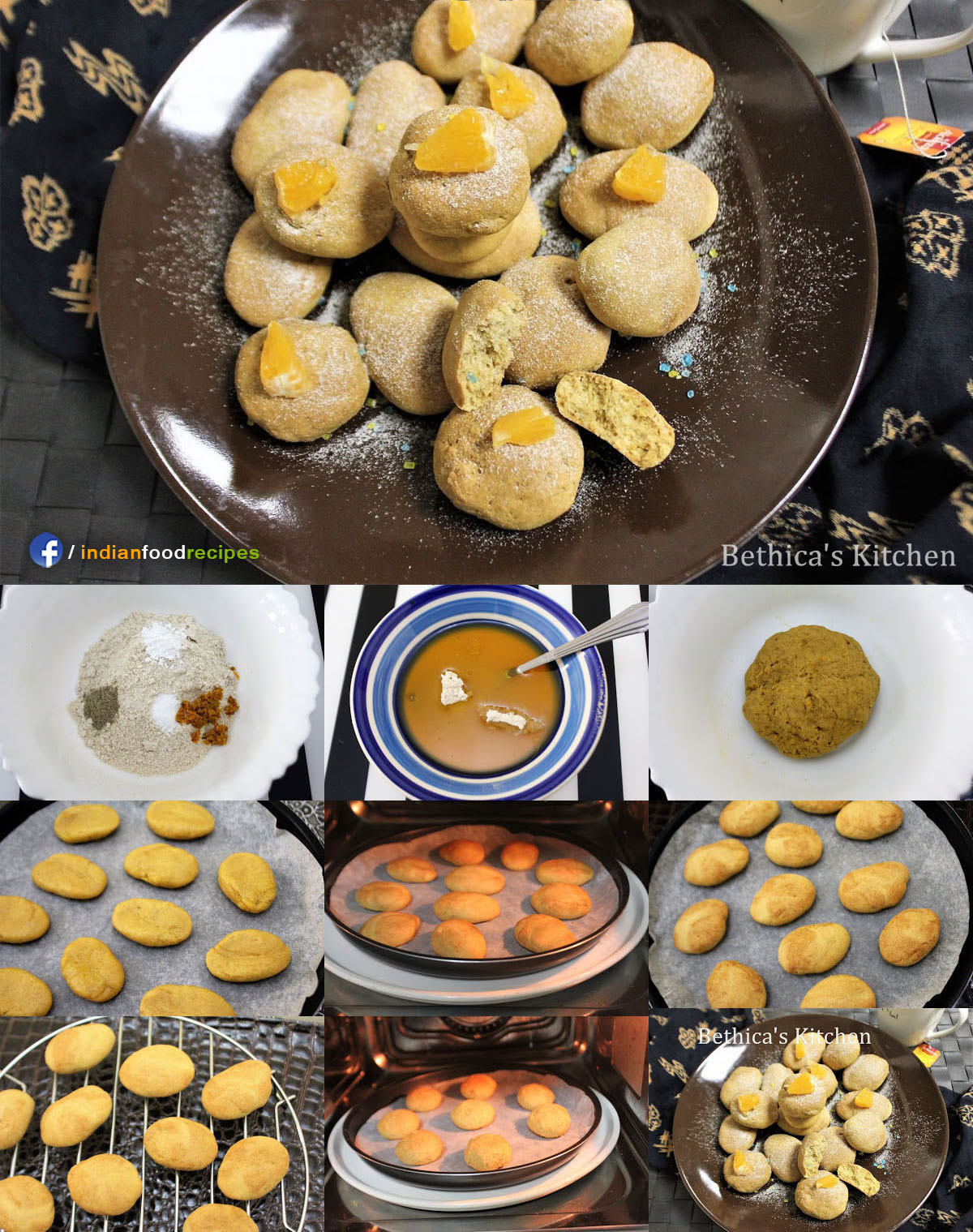 Eggless Rustic Orange Cookies recipe step by step pictures