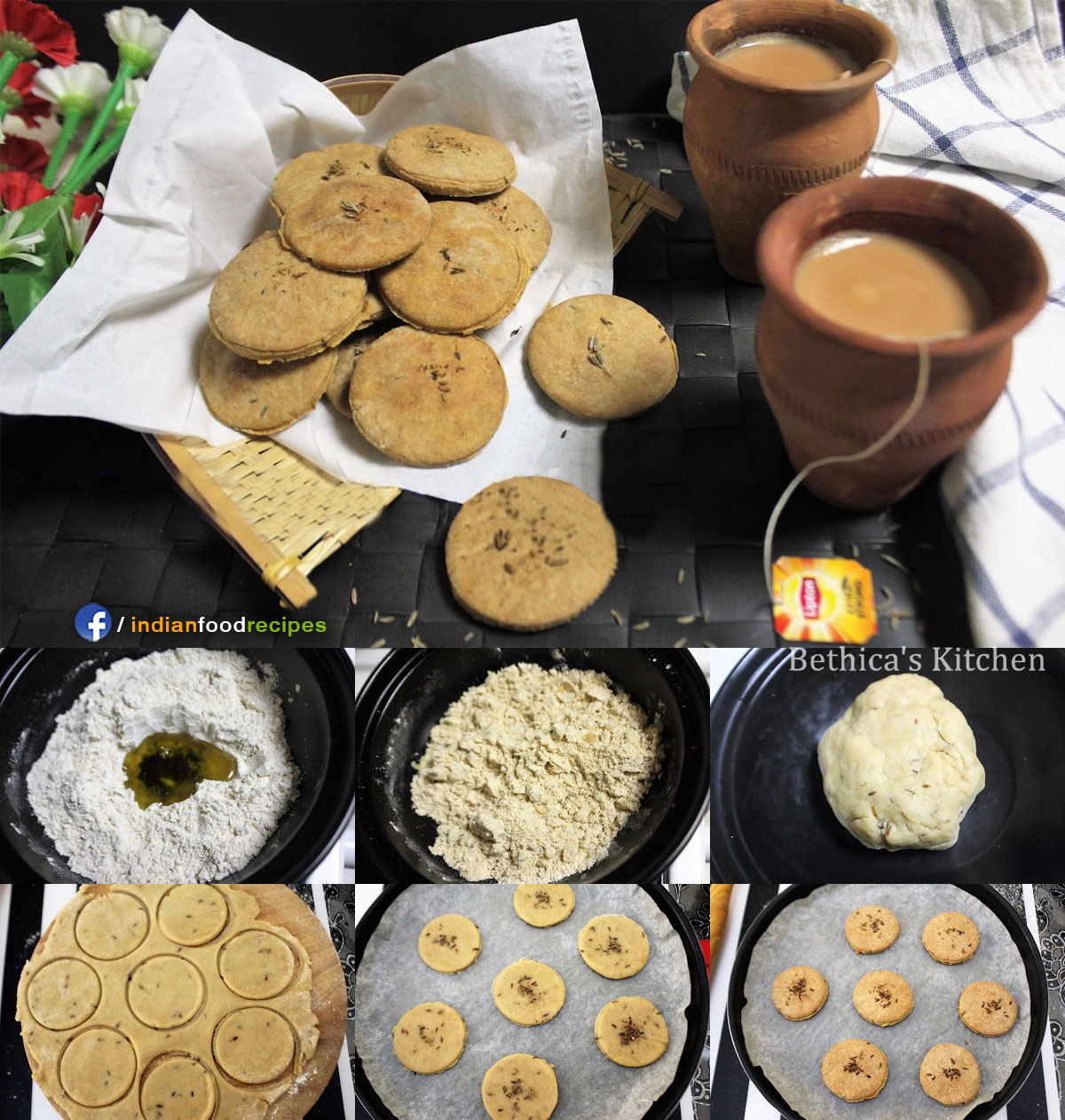 Eggless Whole Wheat Jeera Biscuits (Cumin Cookies) recipe step by step pictures