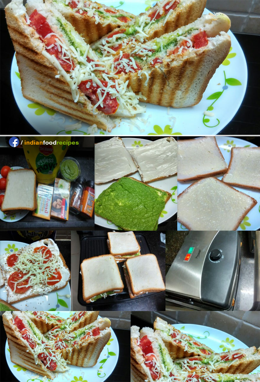 Grilled Tomato Cheese Sandwich recipe step by step pictures